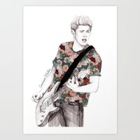 niall Art Prints featuring Floral Niall by Coconut Wishes