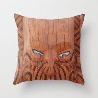 tiki Throw Pillows featuring Tiki Tiki by leyna.seaton