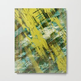 Hidden Meaning - Abstract, oil painting in yellow, green, blue, white and brown Metal Print