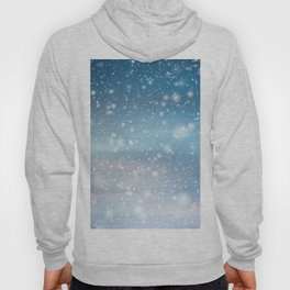 Snow Bokeh Blue Pattern Winter Snowing Abstract Hoody