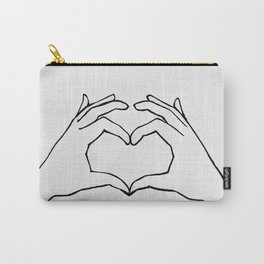 Heart Hands Line Drawing - Share The Love Carry-All Pouch