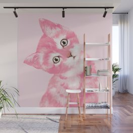 Baby Cat in Pink Wall Mural