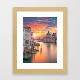 Sunset in Venice Framed Art Print