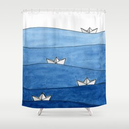 Paper boats Shower Curtain