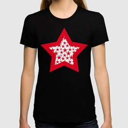 Red stars on white background illustration T-shirt