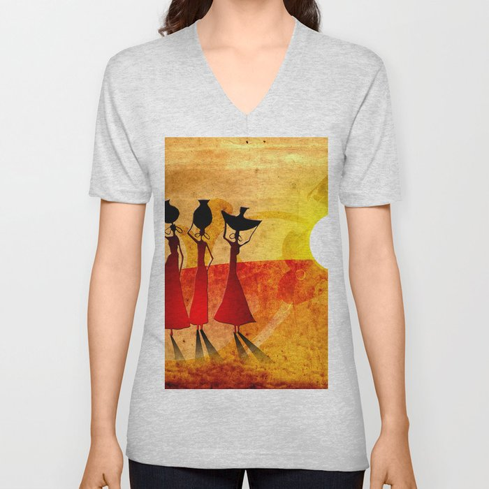Africa retro vintage style design illustration Unisex V-Neck