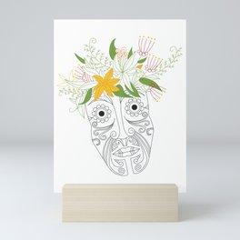 Tattoo Maori-style Polynesian flower head Mini Art Print