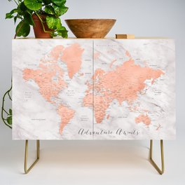 "Adventure awaits world map in rose gold and marble, ""Janine"" Credenza"