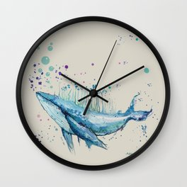 Blue Whale Island Wall Clock