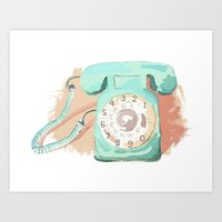 telephone Art Prints featuring Telephone by Paint Your Idea