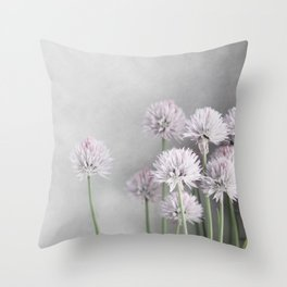 Lavender Flowers on Green Chives Throw Pillow