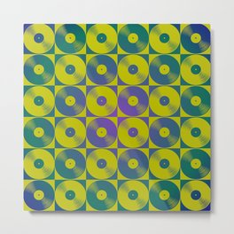 Cool vinyl records pop art pattern Metal Print