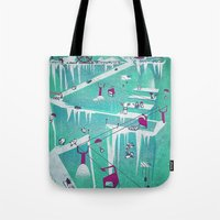 penguins Tote Bags featuring Penguins by Spires