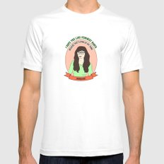 Jessica Day / New Girl Print MEDIUM White Mens Fitted Tee