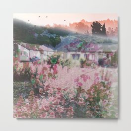 House on Flower Hill Collage Metal Print