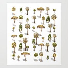 ramdom trees Art Print