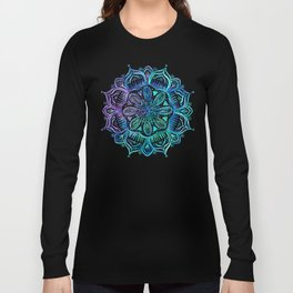 Iridescent Aqua and Purple Watercolor Mandala Long Sleeve T-shirt