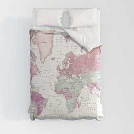 World Map Wall Art [Pink Hues] Comforters