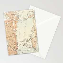 Vintage Map of Miami Florida (1950) Stationery Cards