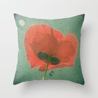 poppy Throw Pillows featuring Poppy by Cassia Beck