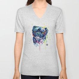 Pug Watercolor Pet Portrait Painting Unisex V-Neck