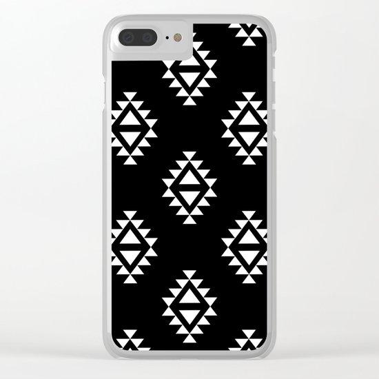 Linocut southwest minimal pattern black and white print scandinavian minimalism Clear iPhone Case