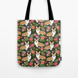 Corgi Hawaiian Print Tropical hibiscus flower cute corgi dog pattern Tote Bag