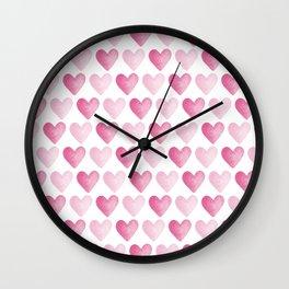 Pink Watercolour Hearts Wall Clock