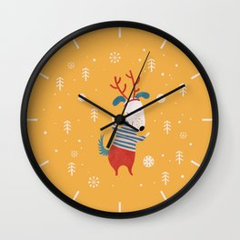 Merry Christmas card 4 Wall Clock