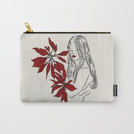 Girl with Red Flowers Carry-All Pouch