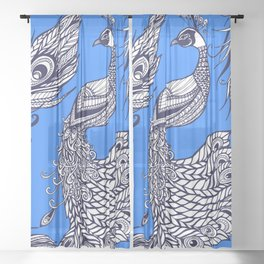 Peacock and feathers white and blue Sheer Curtain