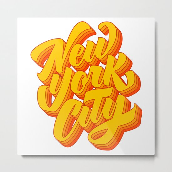 New York City Lettering Metal Print