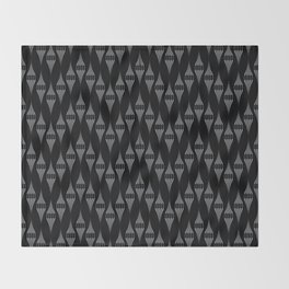 Art Deco 46 . Fishnet black gray zigzag . Throw Blanket