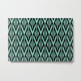 Black turquoise triangles pattern stripe graphic Metal Print