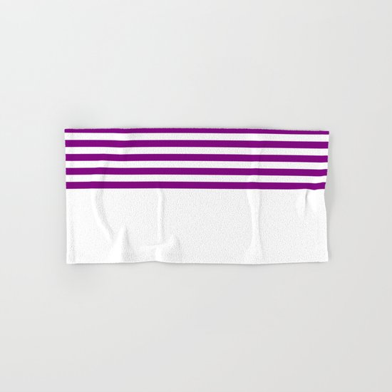 Horizontal Stripes (Purple/White) Hand & Bath Towel