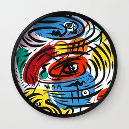 Joyful Life Abstract Art Illustration for Kids and Everyone Wall Clock