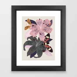 Lilies and butterflies insects Framed Art Print