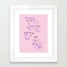 On good days vs on bad days Framed Art Print