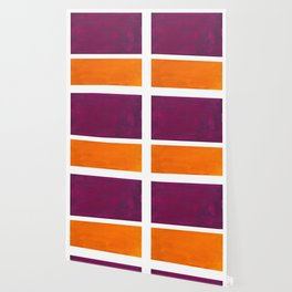 Purple Wine Yellow OchreMid Century Modern Abstract Minimalist Rothko Color Field Squares Wallpaper
