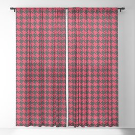 PreppyPatterns™ - Cosmopolitan Houndstooth - black and cherry red Sheer Curtain