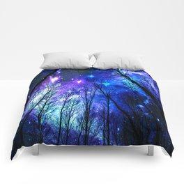 black trees purple blue space Comforters