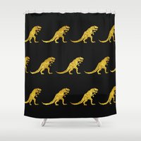trex Shower Curtains featuring Golden T.Rex Pattern by chobopop