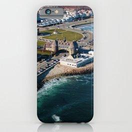 Narragansett Towers, Coast Guard House, Seawall, & Beach; Narragansett, Rhode Island Aerial View iPhone Case