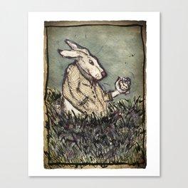 I'm Late I'm Late! White Rabbit Canvas Print