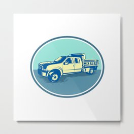 Tipper Pick-up Truck Oval Woodcut Metal Print