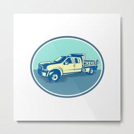 Tipper Pick-up Truck Oval Woodcut Metal Print