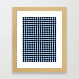 Black and Baby Blue Diamonds Framed Art Print