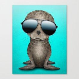 Cute Baby Sea Lion Wearing Sunglasses Canvas Print