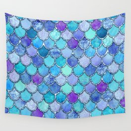 Colorful Blues Mermaid Scales Wall Tapestry