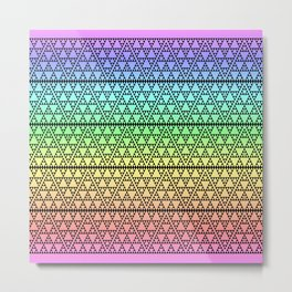 Triangles in Triangles on Rainbow Metal Print